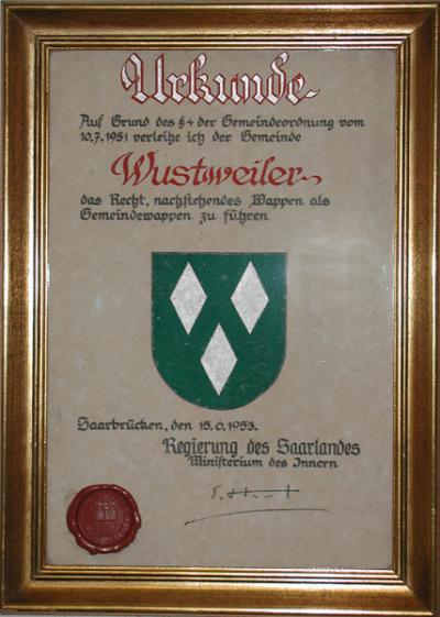 Urkunde zum Wappen von Wustweiler