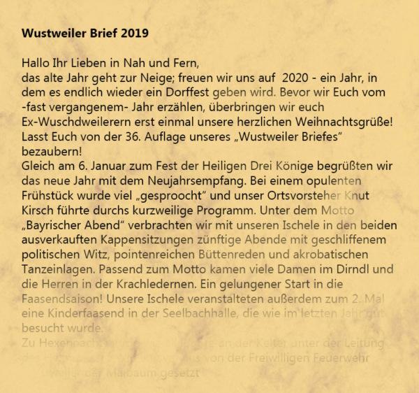 Wustweiler Brief 2019